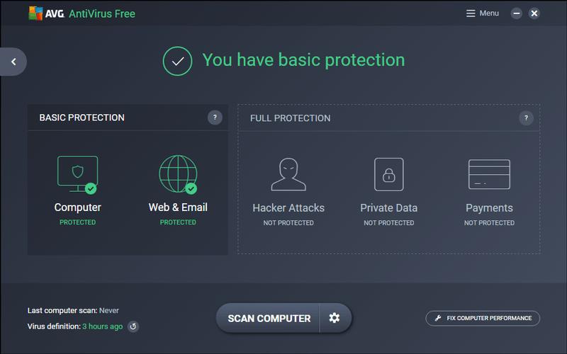 Giao diện phần mềm Avira Free Antivirus